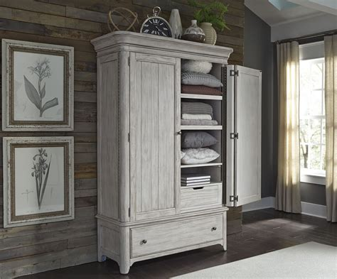 Bedroom Armoires by Liberty Farmhouse Reimagined Antique White Armoire