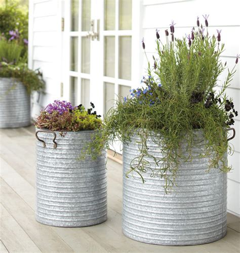 galvanized steel planters galvanized steel planter with handles traditional 1189