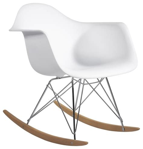 molded plastic armchair rocker in white midcentury