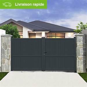 Portail En Aluminium : portail battant aluminium matisse gris primo cm x h ~ Melissatoandfro.com Idées de Décoration