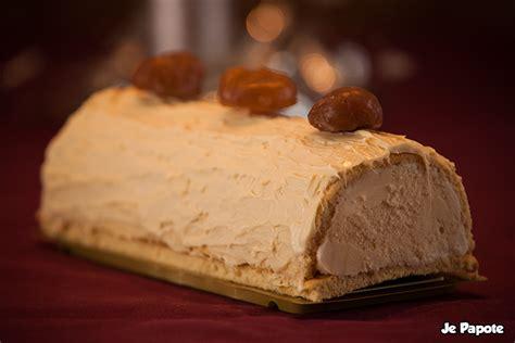 hervé cuisine buche marron bûche de noël glacée à la vanille marrons glacés je papote