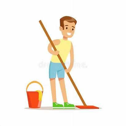 Cleaning Cartoon Mop Floor Kid Boy Housekeeping