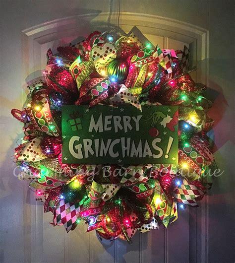 grinchmas decorations wreath light up wreath grinch wreath