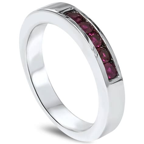 mens ruby wedding ring 1 3ct ruby mens channel wedding ring 14k white gold