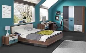 Schrank 100 X 200 : 3 tlg jugendzimmer in schlammeiche dekor grau wei schwarz und blau schrank b 144 cm bett ~ Bigdaddyawards.com Haus und Dekorationen
