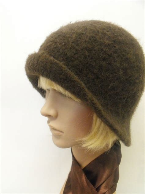hand felted wool cloche hat browns felt