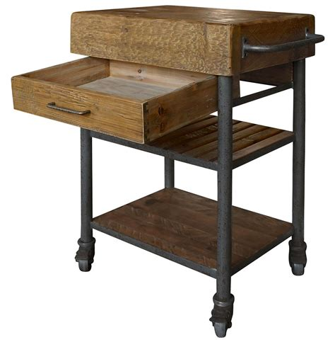 wood kitchen island cart kershaw rustic chunky reclaimed wood iron single drawer