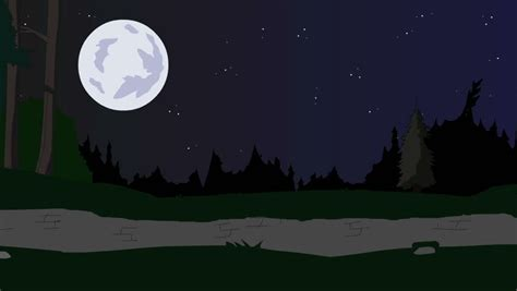 Snowy Night Scene With Full Moon, Falling Snow And