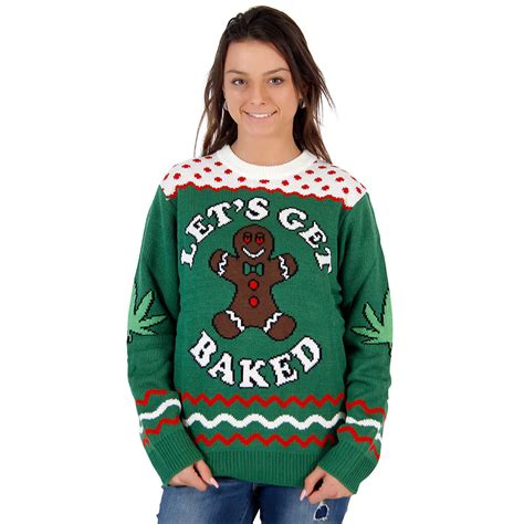 lets  baked happy gingerbread tacky christmas sweater
