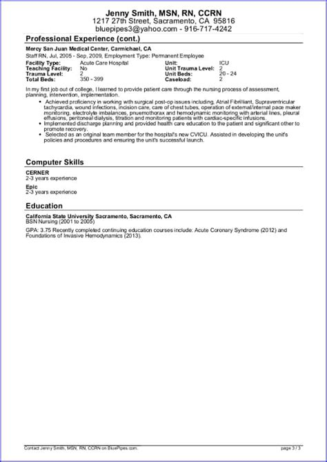 sample travel nursing resume  template bluepipes blog