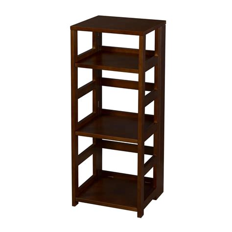 folding bookcase niche flip flop mocha walnut 3 shelf square folding bookcase ffsq3412mw the home depot