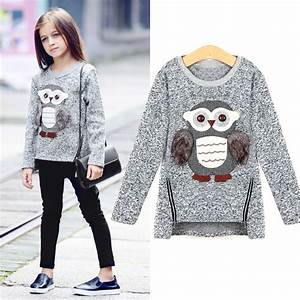Girls Fleece Lined Zipper sweater Cartoon Cute Owl Casual ...