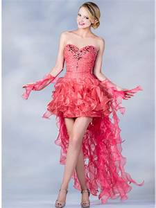 Coral Handkerchief High Low Prom Dress Sung Boutique L A