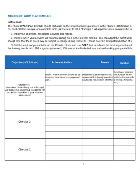 work plan template excel 15 project plan templates free premium templates