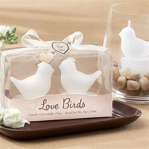 White love birds tea light candles for Beau coup wedding favors