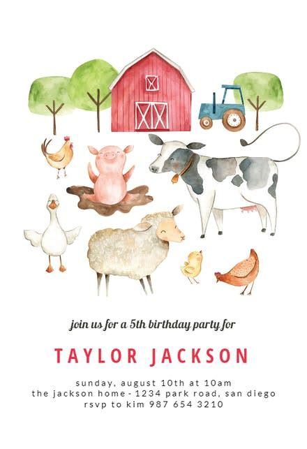 barn birthday invitation template   island