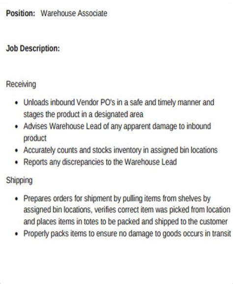 Warehouse Stocker Description Resume by Warehouse Description Sle Warehouse Associate Description Warehouse Associate