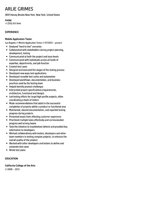 mobile application tester resume sle velvet