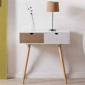 Bout de canape avec 2 tiroirs en mdf blanc et pin for Nettoyage tapis avec bout de canapé bois blanc
