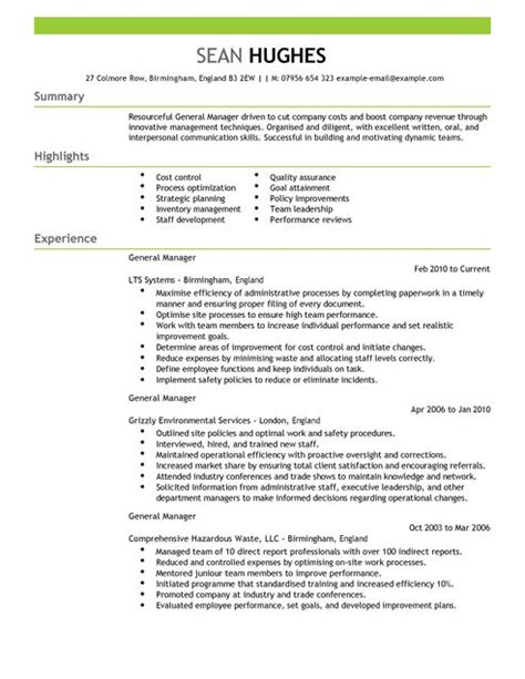 General Manager Resume Word Template by General Manager Cv Exle For Management Livecareer