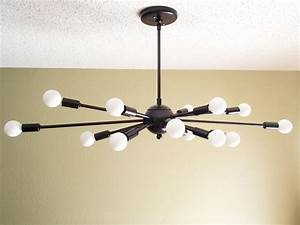 Atomic arm sputnik ceiling light chandelier mid century