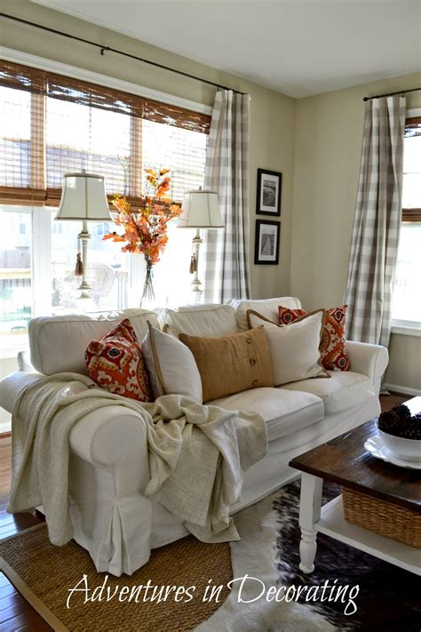 Vintage Living Room With Grey Buffalo Check Curtains And