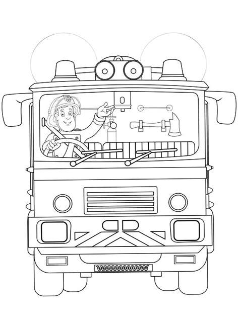 sam il pompiere sul camioncino da stampare  colorare