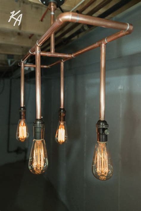 copper pipe light fixture chandelier by kineticadditions