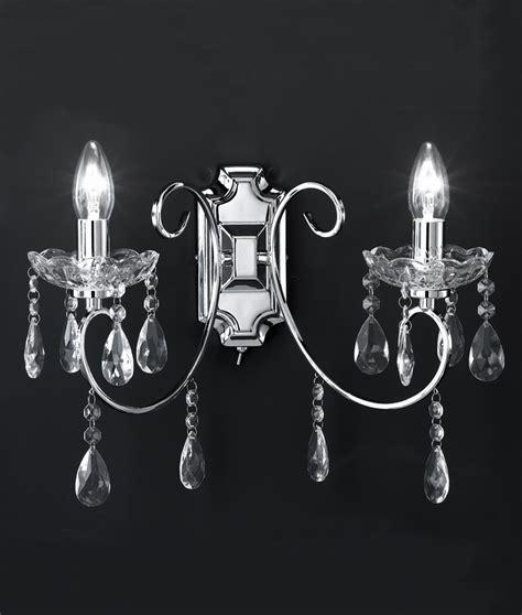 double chrome crystal wall light