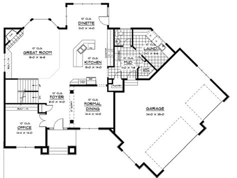 unfinished kitchen island with seating prairie style house plan with angled garage 14410rk