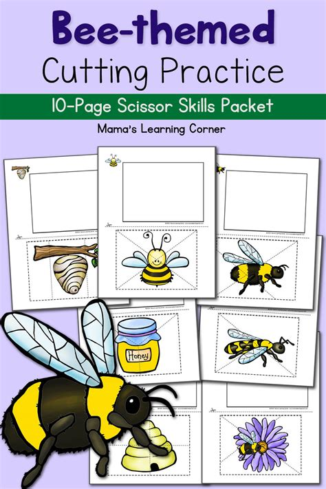 bee cutting practice worksheets  bee tree mamas