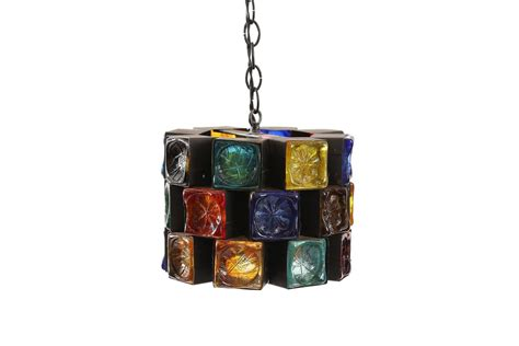 multi colored glass and iron chandelier hanging lights by
