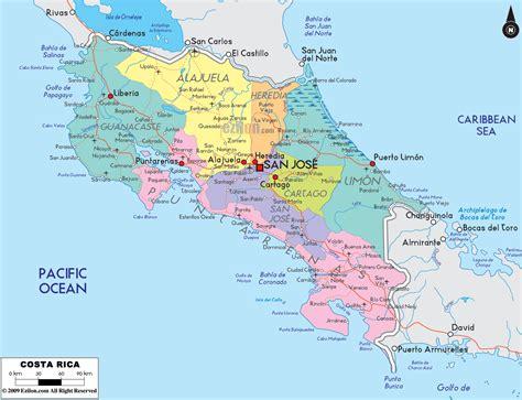 Detailed Political Map of Costa Rica Ezilon Maps