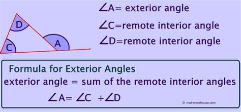 remote interior angles remote exterior and interior angles of a triangle