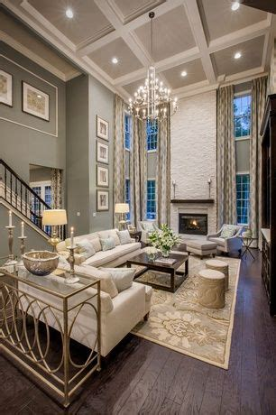 traditional living room with box ceiling high ceiling