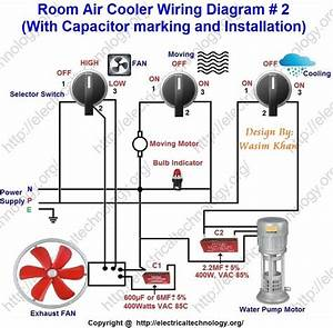Room Air Cooler Wiring Diagram   2   With Capacitor Marking And Installation