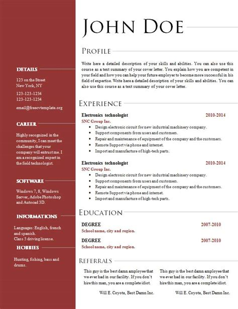 A Free Cv Template by Free Cv Resume Templates 495 To 501 Free Cv Template Dot Org