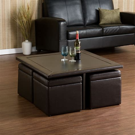 This unique side table has tabletops that are both top lifts up and forward to create versatile work surface top can hold up to 50 lbs. Rithland Coffee Table with Lift Top Stools | Coffee table ...