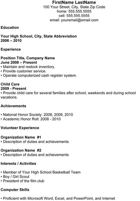 Chronological Resume Exle High School by High School Student Resume 22 Exles For Students
