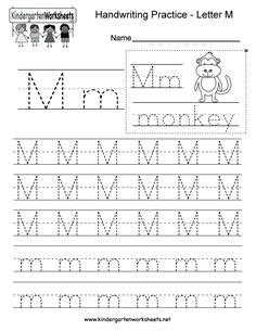 kindergarten letter  writing practice worksheet
