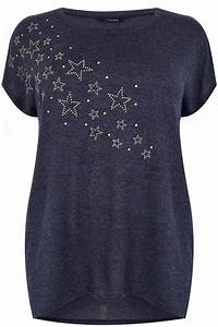 Dark Blue Star Studded Top, Plus size 16 to 36