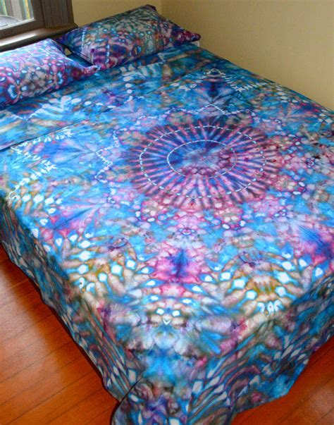 organic hand dyed queen sheet set water from