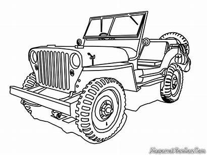 Jeep Coloring Pages Mobil Gambar Military Untuk