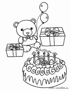 Birthday cake teddy bear coloring pages - Hellokids.com