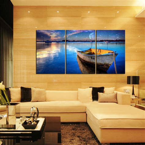 home interior pictures wall decor canvas prints home decor wall painting blue sea boat