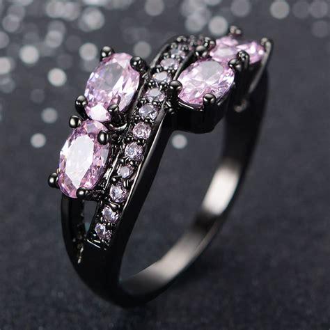 pink  black wedding rings ring designs design