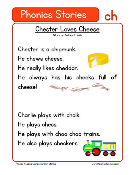 phonics words stories ch reading comprehension worksheet