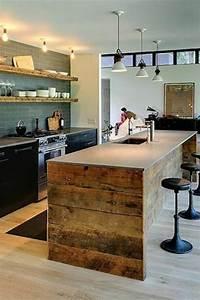 Cuisine avec ilot central 43 idees inspirations for Idee deco cuisine avec meuble bois brut