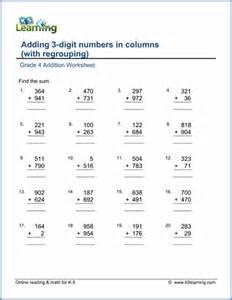 maths grade 4 grade 4 addition worksheets free printable k5 learning