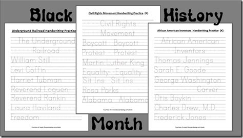 Kindergarten Handwriting Worksheets For Black History Month!  3 Boys And A Dog